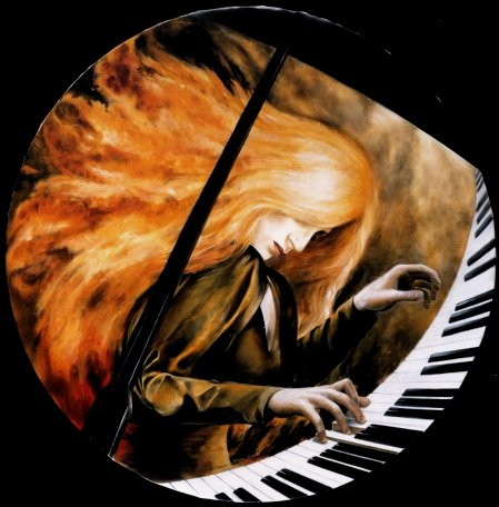 LIONESS OF THE PIANO. Oil on Canvas. Diameter 100 cm. by Stefan Bløndal